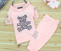 Wholesale sets baby girl bear Rhinestone t shirt pants set girl summer clothing set