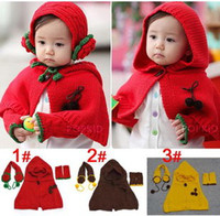 Wholesale New Arrival Fashion Sweet Unisex years Three Pieces Sets Children s Hooded Cloak Glove Earmuffs