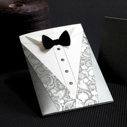 Wholesale Groom Wedding Invitation Card with Black Tie Set of Printable amp Customizable