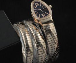Free Shipping Ladies Tubogas 18K Rose gold Snake Watch Diamond Black Dial Women's Quartz Fashion Wrist Watches