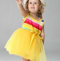 Summer low price dresses - Girls baby rainbow dresses Kids stripe vest skirt Children TUTU gauze yellow years Low Price