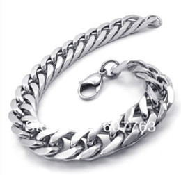 Men's 316L Stainless Steel Heavy Double Curb Cuban Chain Bracelet