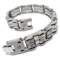 Wholesale 316L Stainless Steel Fashion Mens Womens Bar Linked CZ Crystal Bracelets