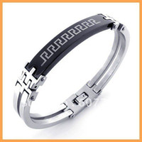 Wholesale Min Order L Stainless Steel Men s Black Great Wall Patterns Hand Cuff Bangles Bracelets
