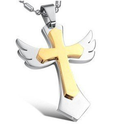 Angel Wings Cross Pendant Stainless Steel & 18K Gold Necklace