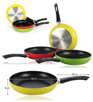 Wholesale 22cm Non stick Saucepan Frying Pan Colorful Aluminum Pans Cookware