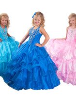 Wholesale 2013 Princess Little Girl Pageant Puffy Dresses Organza Halter Modern Party Ball Gowns HW103