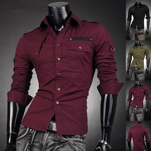 2017 Mens Designer Dress Casual Shirts Angle Shoulder Stylish Tops ...