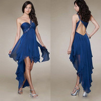 Best selling Charming Sexy One shoulder Ruffle Beaded Hign- L...