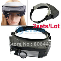 Wholesale sets New X Lighted Magnifying Glass LED Head Headband Magnifier Loupe With Suns