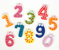 Wholesale wooden digital fridge magnets set promo magnet children fridge magnet