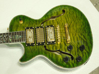 Wholesale New Arrival Left Handed Guitar Green Burst Electric Guitars Hollow Pickups Jazz Guitar