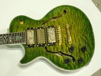 Precio de Guitarra de la mano izquierda verde-Nueva llegada Guitarra zurda verde al por mayor de la explosión de Guitarra Eléctrica Hollow 3 Pastillas guitarra del jazz