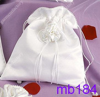Wholesale Bridal Money Bag White Satin Wedding Bridal draw string handbag Purse with Delicate Hand made Flower