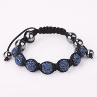 South American american express blue - Handwork dark blue Macrame Bracelets with Disco Ball Crystal Free Express