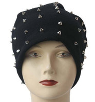 Wholesale 1PC Khaki Black Grey Dark Grey Unisex Hip hop Style Baggy Beanie Spike Studs Rivet Cap Hat