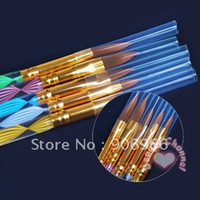 best acrylic brushes - Best selling Ways Sable Acrylic Kolinsky Nail Art Brush Pen Nail Brush Cuticle Pusher Set Fr