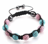 Unisex american express blue - Handwork elegant pink amp blue Macrame Bracelets with Disco Ball Crystal Free Express