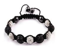 white & black american express free - Handwork elegant white amp black Macrame Bracelets with Disco Ball Crystal Free Express