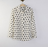Wholesale New Arrival Fashion Ladies Chiffon Blouses White HOT Loose Blouse Heart Printing Long Sleeve S M L
