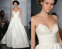 Wholesale Spaghetti strap V neck Lace Taffeta Chapel Train Ball Gown Wedding Dress Amsale D11