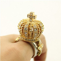 Wholesale High Quality Golden Crown Cross Rhinestone Ring Womens Mens Couple Diamond Rings
