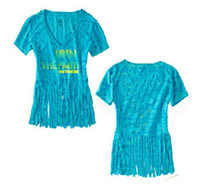 Wholesale New arrival woman blue tassels t shirt dance clothing Dance wear