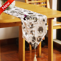 Wholesale New arrival Decorating Fabric table runner with Tassels sequins Gorgeous Table Runners tablecloth colors