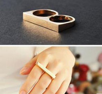 Wholesale Simple Style Womens Double Finger Rings Gold Silver Mens Two Finger Ring Mix