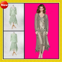 V-Neck Chiffon Long Sleeves 2013 Detachable Long Sleeves Jacket V-Neck Tea Length Chiffon Beaded Embroidered Sexy Mother Dresses