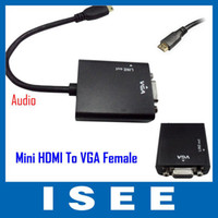 Wholesale ISEE Style Mini hdmi male input to VGA female output adapter converter cable for tablet phone DV MP4