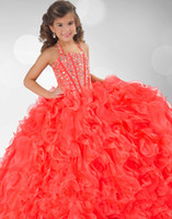 Wholesale 2013 Lovely Multi Layered Little Girl Ball Gowns Colorful Beaded Organza Party Dresses HW118