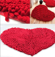 Wholesale Fluffy Bedroom Rug Carpet Floor Bath Mat Love Heart Doormat X59cm Chenille Pad