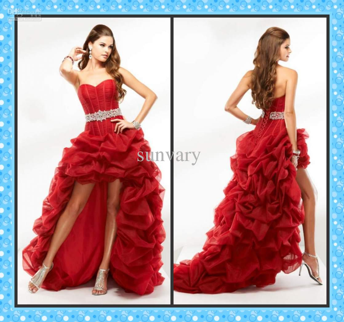 2013 Sexy High Low Prom Dress Ball Gown Sweetheart Red Black Pink ...
