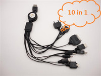 Wholesale 10 in charger cable multi charge for PDA PSP universal USB charge for phone Mp3 Mp4 dhl