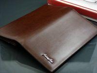 Wholesale Brand Designer Mens Long Wallet Leather Pockets Card Bag Clutch Center Bifold Purse Coffe Brown