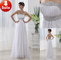 Wholesale Cheap Sexy White Beads Chiffon Beach wedding Long Formal evening dresses Gowns Prom dresses