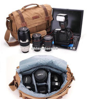 Wholesale Vintage Canvas SLR Camera Shoulder Bags DSLR Lens Laptop For Canon Nikon