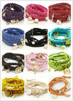 Wholesale Braided Leather Rope Bracelets Multilayer Multi Pendant Korea Cashmere Bracelets Charm Bracelet J575