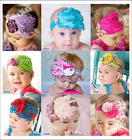 Wholesale 5pcs color Baby s Headwear Feather Flower inch Elastic Headband Children Handmade Hair Ribbon