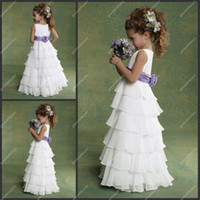 Wholesale Cheap Flower Girls Dresses for Weddings Chiffon White and Purple Many Layers Floor length Kids Evening Gowns Flowergirl Dresses For Sales