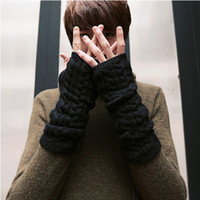 Wholesale man s Korean Fingerless gloves winter hip hop knit glove black and dark gray