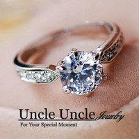 Wholesale 18K Platinum Plated Classic Prong Sparkly mm Zircon Lady Wedding Ring Uncle Jewelry