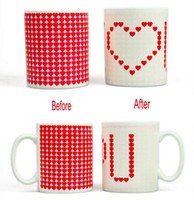 Porcelain white mugs - Stock Ready I Love U Color Changing Mug Novelty Gift Couple Coffee Milk Cup