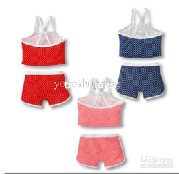Wholesale girl s sling two piece set Summer Children girls Suit red blue pink Y XZ125