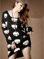 Women Round Punk / Rock / Hip-hop Fashion 2014 Fashion Women's T-Shirts Ladies Black Skull Digital Printed Cotton Long Sleeve tshirts Ladies Blouses Loose street style upper garments