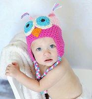 0-12 Months Crochet Hats Boy baby boy girl crochet hat baby handmade cap kids owl hat. auricles 50pcs EMS free shipping