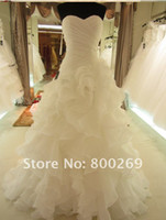 Wholesale 2012 new fashion shallow v collar hot sale real picture Organza Ruffle Wedding Dress Bridal Gown
