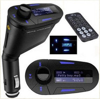 Wholesale GHJA205 Blue Car Kit MP3 Wireless FM Transmitter USB SD MMC LCD With Remote