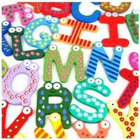 Wholesale EMS Shipping Children Toys Letters Wooden Alphabet Fridge Magnets Sticker